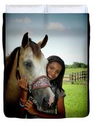 Young Girl And Her Horse Duvet Cover