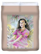 Young Girl From Tahiti Duvet Cover