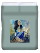Young Girl In Blue Duvet Cover