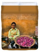 Young Girl Selling Rose Petals In The Medina Of Fes Morroco Duvet Cover