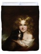 Young Girl With A Dog Duvet Cover