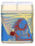 Young Girl With Blue Eyes Duvet Cover