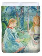 Young Girls At The Window Duvet Cover by Berthe Morisot