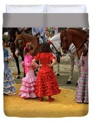 Young Girls In Flamenco Dresses Looking At Horses At The April F Duvet Cover