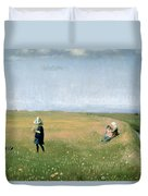 Young Girls Picking Flowers In A Meadow Duvet Cover