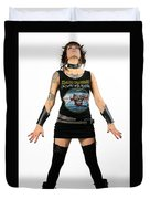 Young Heavy Metal Female Punk Fan Standing Tall With Horns Pierc Duvet Cover