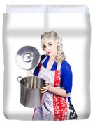 Young Housewife Lifting Lid On A Home Cooking Pot Duvet Cover