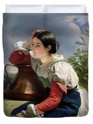 Young Italian At The Well Duvet Cover by Franz Xaver Winterhalter