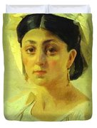 Young Italian Woman In A Folk Costume Study Duvet Cover