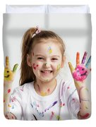 Young Kid Showing Her Colorful Hands Duvet Cover