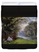 Young Ladies By A River Duvet Cover by John Edmund Buckley