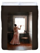 Young Lady In Pink Gown Looking Out Window Duvet Cover