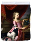 Young Lady With A Bird And A Dog Duvet Cover