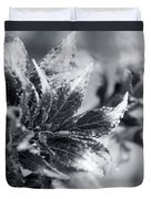 Young Leaves In Black And White Duvet Cover