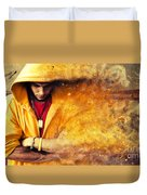 Young Man In Hooded Sweatshirt On Grunge Wall Duvet Cover