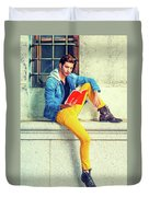 Young Man Reading Red Book, Sitting On Street Duvet Cover