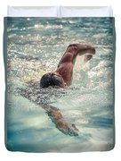 Young Man Swimming Duvet Cover