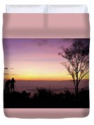 Young Men Silhouette Taking Photos About Landscape Outdoor  Duvet Cover