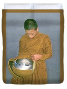 Young Monk Begging Alms And Rice, Thailand Duvet Cover