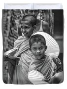Young Monks 2 Bw Duvet Cover