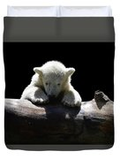 Young Polar Bear On A Log Duvet Cover