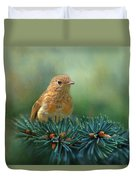 Young Robin On Pine Tree Duvet Cover
