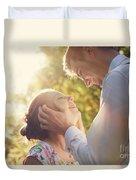 Young Romantic Couple Flirting In Sunshine Duvet Cover