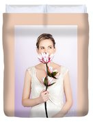 Young Romantic Woman With Lotus Flowers Duvet Cover