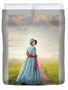 Young Victorian Woman On A Country Path Duvet Cover