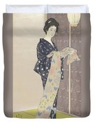 Young Woman In A Summer Kimono, 1920 Duvet Cover