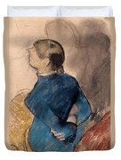 Young Woman In Blue Duvet Cover