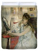 Young Woman Powdering Her Face Duvet Cover by Berthe Morisot
