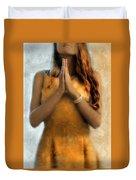 Young Woman Praying Duvet Cover by Jill Battaglia