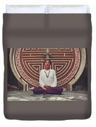Young Woman Sitting And Meditating In A Lotus Position In Front Of A Unique Doors Duvet Cover