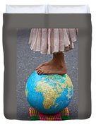 Young Woman Standing On Globe Duvet Cover