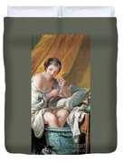 Young Woman Taking A Foot Bath Duvet Cover