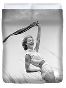 Young Woman Waving Scarf, C.1950-60s Duvet Cover