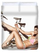 Young Woman Wearing A Swimsuit Duvet Cover