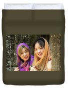 Young Women Silk Scarves 01 Duvet Cover