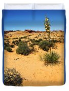 Yucca And Desert Primrose In The Valley Of Fire Duvet Cover