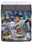 Zack Greinke Los Angeles Dodgers Duvet Cover