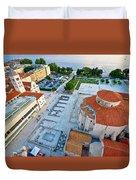 Zadar Forum Square Ancient Architecture Aerial View Duvet Cover