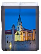 Zadar Landmarks Evening Vertical View Duvet Cover