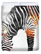 Zebra Black White And Red Orange By Sharon Cummings  Duvet Cover