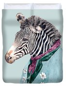 Zebra Blue Duvet Cover