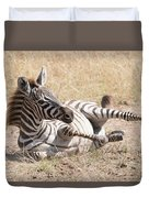 Zebra Foal Rolls In Dust On Savannah Duvet Cover