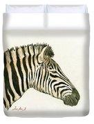 Zebra Head Study Painting Duvet Cover