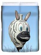 Zebra Hot Air Balloon At Balloon Fiesta Duvet Cover