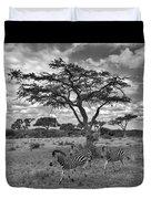Zebra Running Through Savannah Duvet Cover