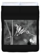 Zebra Swallowtail Butterfly Black And White Duvet Cover